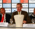 Pictured during the draw for the third leg of the 2011 FEI Nations' Cup™ series at St Gallen, Switzerland today were L to R – Peter Stossel, President CSIO St Gallen, John Roche, FEI Jumping Director and Hank Nooren, Chef d'Equipe for the French team. Photo by FEI/Katja Stuppia.