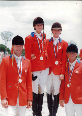 The Canadian Show Jumping Team, silver medalist at the 1991 Pan American Games, will be inducted into the Jump Canada Hall of Fame on Sunday, November 6, 2011. From left to right: Ian Millar, Sandra Anderson, Beth Underhill and Danny Foster.