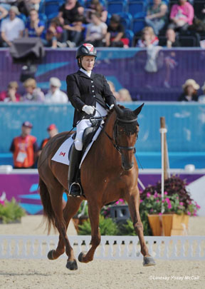 Lauren Barwick and Off to Paris competed in the Freestyle on the fifth day of Equestrian competition for Canada at 2012 Paralympics on Monday, September 3, at the 2012 London Paralympic Games. Photo by Lindsay McCall