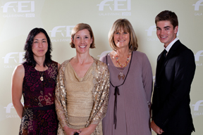 Winners of the FEI Awards 2012 in Istanbul. From left to right: Celia Rijntjes (NED), Courtney King-Dye (USA), Sharon Boyce (RSA), Thomas McDermott (AUS)