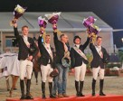 The Dutch team, winners of the first leg of the inaugural Furusiyya FEI Nations Cup™ Jumping series at Al Ain, UAE today. Left to right: Frank Schuttert, Eric van der Vleuten, Chef d'Equipe Rob Ehrens, Aniek Poels and Maikel van der Vleuten