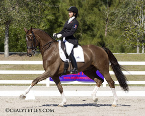 Naima Moreira-Laliberté and won both the FEI Junior Team and Individual tests at Wellington Dressage CDI-W. Photo by www.cealytetley.com