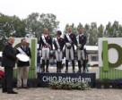 Great Britain won the second leg of the FEI Nations Cup™ Dressage 2013 series at Rotterdam, The Netherlands today. Pictured on the podium (L to R): Carl Hester, Charlotte Dujardin, Daniel Watson and Gareth Hughes.