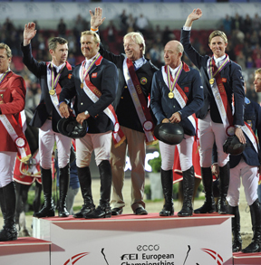 Scott Brash, Will Funnell, Chef d'Equipe Rob Hoekstra, Michael Whitaker and Ben Maher.