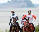 Winners HE Sheikh Hamdan bin Mohammed Al Maktoum (left) and Nikos, with HE Sheikh Rashid Dalmook Al Maktoum and Yamamah