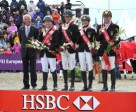 Hans Melzer (chef d'equipe), Michael Jung (individual gold), Dirk Schrade, Ingrid Klimke (individual silver) and Andreas Dibowski.