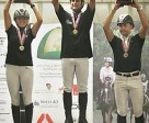n the podium for the FEI World Endurance Championships for Young Horses in Valeggio Sul Mincio (ITA) are: (L to R) silver medallist Silvia Yebra Altimiras (ESP), gold medallist Aurelien Rocchia (FRA) and bronze medallist Laurent Mosti (FRA).