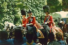 Queen Elizabeth II on Burmese for the Trooping of The Colour.