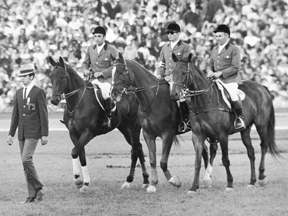 Thumbnail for Mexico 1968 OG, Equestrian / Jumping, team Mixed – The Canadian team (CAN) 1st : Henry James ELDER and THE IMMIGRANT, James E. DAY and CANADIAN CLUB and Thomas Franklin GAYFORD and BIG DEE.