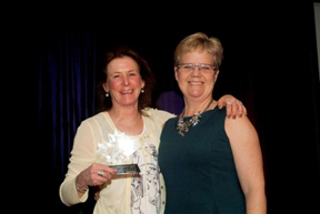 Coaching Excellence Award - Wendy Johnston and Trish Mrakawa Chair of the National Coaching Committee. Photo by Shereen Jerrett