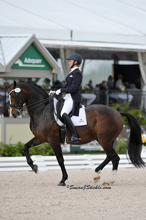 Megan Lane and Caravella won the FEI Grand Prix Freestyle CDI 3* during week 12 of the Adequan® Global Dressage Festival. Photo by SusanJStickle.com
