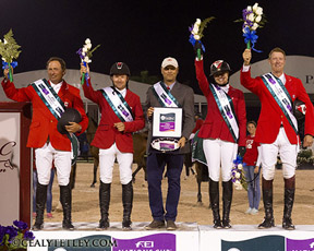 Canada is presented as the winner of the $75,000 Furusiyya Nations' Cup, presented by G &C Farm, at the 2014 FTI Consulting Winter Equestrian Festival in Wellington, FL. Cealy Tetley, www.tetleyphoto.com