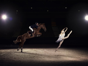 US Elite Jumping rider Charlie Jacobs demonstrates the power and athleticism of his sport, alongside Liudmila Khitrova from the Minsk Bolshoi, ahead of the Longines FEI World Cup™ Jumping Final in Lyon, France. Photo by FEI/Hamish Brown