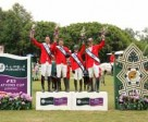 Team Canada (L to R - Jonathon Millar, Chris Sorensen, Kara Chad, and Ian Millar) proudly stands on the podium after winning the second leg of the 2014 Furusiyya FEI Nations Cup series on May 9 at the CSIO 4* Coapexpan in Mexico. Photo by Anwar Esquivel