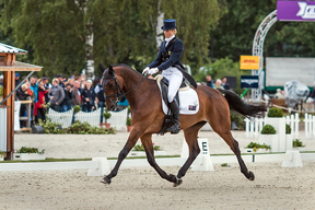 Lucinda Fredericks (AUS) and Flying Finish, leaders after the Dressage phase at Luhmühlen (GER) this weekend, the fifth leg of the FEI Classics™ series. Photo: Hanna Broms/FEI.