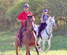 Bob Gielen and Melody Blittersdorf participating in the Cayuse Canter in 2011.
