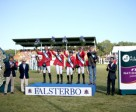 Team Germany on the podium following their victory in the sixth leg of the Furusiyya FEI Nations Cup™ Jumping Europe Division 1 League at Falsterbo in Sweden today: (L to R) Andre Thieme, Katrin Eckermann, Meredith Michaels-Beerbaum, Patrick Stuehlmeyer and Chef d'Equipe Otto Becker. Left of podium - Anders Mellberg, President Swedish NF and Jan Olaf Wannius, President Falsterbo Horse Show. Right of podium - Mr Adil Alfwzan, Deputy Chargé d'Affaires Saudi Arabian Embassy in Sweden. Photo: FEI/Roland Thunholm.