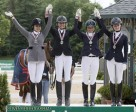 Junior Team Ontario celebrate their silver medal victory at the 2014 Adequan FEI North American Junior & Young Rider Championships. Photo by Cealy Tetley