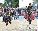 Winners at the FEI World Breeding Dressage Championships for Young Horses 2014 in Verden (GER) were: (L) Six-Year-Old champion Dancer Forever ridden by The Netherlands' Kirsten Brouwer and (R) Five-Year-Old champion Sezuan 2 ridden by Germany's Dorothee Schneider. Photo byy FEI/Karl-Heinz Freiler.