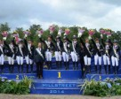 On the podium for Team Eventing at the FEI European Pony Championships 2014 in Millstreet (IRL): Silver - Great Britain, Chef d'Equipe Gary Parsonage, Thomas Tulloch, Isabelle Upton, Chelsea Pearce, Oliver Williams; Gold - France, Chef d'Equipe Emmanuel Quittet, Victor Levecque, Yfke Bourget, Marine Bolleret, Heloise Le Guern: Bronze - Italy, Chef d'Equipe Zillia Pearse, Matteo Guiducci, Manfredi Foschi, Maria Sole Girardi and Emma Pasqualini, trainer Jacapo Comelli. Photo by FEI/Tony Parkes