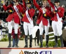 Germany stormed to victory in the team Jumping Championship at the Alltech FEI World Equestrian Games™ 2010 in Kentucky, USA. Pictured left to right - Carsten-Otto Nagel, Meredith Michaels-Beerbaum, Marcus Ehning and Janne-Freidericke Meyer. (Kit Houghton/FEI)