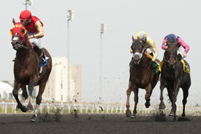 Eurico Da Silva (red and gold silks)guides His Race to Win to victory in the $150,000 Seagram Cup Stakes at Woodbine. Photo by Michael Burns Photograhy