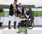 Photo caption: Great Britain's Lee Pearson (centre) celebrates clinching the Grade Ib individual title at the Alltech FEI World Equestrian Games™ 2014 with Austria's Pepo Puch taking silver and The Netherlands' Nicole Den Dulk scoring bronze. Photo by Jon Stroud/FEI