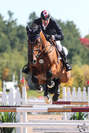 Ian Millar guided Star Power to victory in the $35,000 CSI Caledon Cup, Phase I at the CSI2*-W Canadian Show Jumping Tournament held at the Caledon Pan Am Equestrian Park in Palgrave, ON. Photo by Ben Radvanyi Photography
