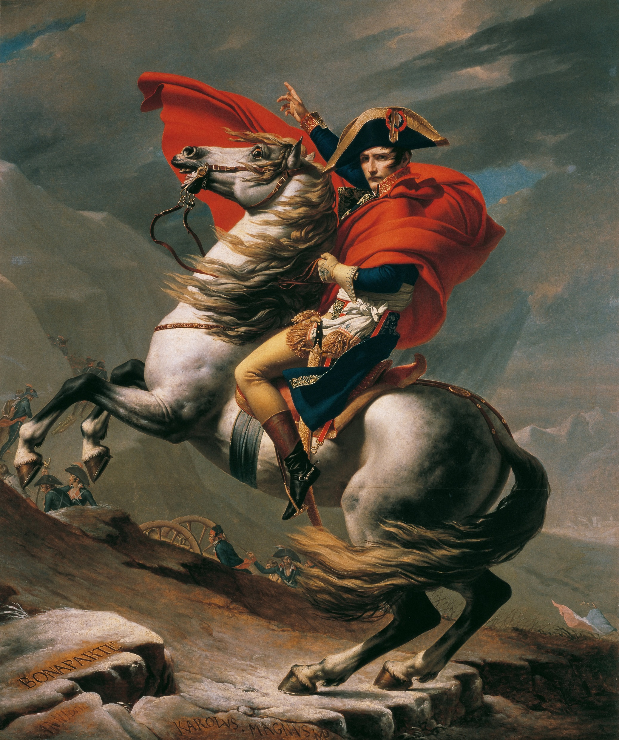 Napoleon Crossing the Alps painted by Jacques-Louis David. The horse in the painting is Marengo.