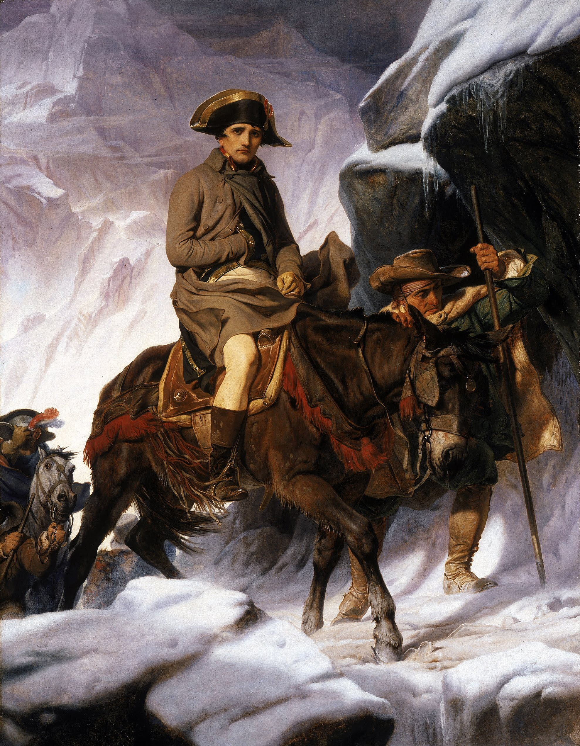 Realistic painting of Napoleon crossing the Alps by Paul Delaroche in 1885