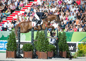 Sandra Auffarth and the Normandy-bred Opgun Louvo were foot-perfect throughout to take individual Eventing gold and lead the Germans to team gold at the Alltech FEI World Equestrian Games™ in Normandy. Photo by Trevor Holt/FEI