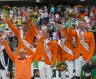 Caption: The Dutch claimed gold in the Jumping team championship at the Alltech FEI World Equestrian Games™ 2014 in Normandy today. L - R Jeroen Dubbeldam, Gerco Schroder, Maikel van der Vleuten and Jur Vrieling with Chef d'Equipe Rob Ehrens. Photo by Dirk Caremans/FEI