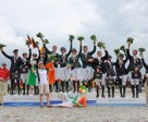 Enjoying their well-earned moment of glory on the podium at the FEI European Eventing Championships for Young Riders 2014 in Vale Sabroso, Portugal were the medal-winning teams from (L to R) Germany (silver), Ireland (gold) and Great Britain (bronze). Photo by FEI/Nuno Goncalves
