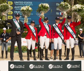 Team USA won the Challenge Cup at the Furusiyya FEI Nations Cup™ Jumping Final 2014 in Barcelona, Spain today (L to R) Chef d'Equipe Robert Ridland with Margie Engle, Beezie Madden, Lauren Hough and McLain Ward. Photo by FEI/Dirk Caremans