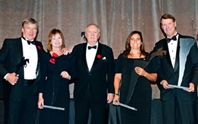 Terrance Millar presented the 1987 Pan American Games Gold Medal Team with the Jump Canada Hall of Fame Award – Team. From left to right: Hugh Graham, Lisa Carlsen, Terrance Millar, Laura Tidball-Balisky and Ian Millar. Photo by Michelle C. Dunn