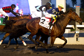 Luis Contreras guides Lukes Alley to victory in the $200,000 Autumn Stakes at Woodbine. Photo by Michael Burns