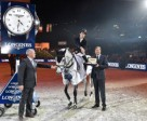 Spain's Sergio Alvarez Moya and Carlo pictured with (left) Chief Steward Matheus Locher and (right) Mr Charles Villoz, Longines' Vice-President and Head of International Sales, after winning today's tenth leg of the Longines FEI World Cup™ Jumping 2014/2015 Western European League at Zurich, Switzerland. Photo by FEI/Karl-Heinz Freiler