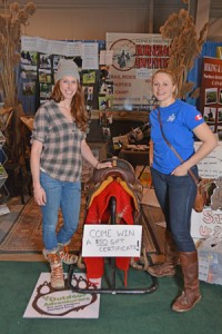 Me (left) and former Derby rider Sarah Cuthbertson check out some of the horsey adventures at the Outdoor Adventure show.