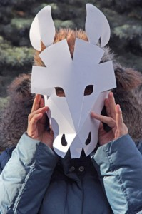 Ghost horses' indeed – a spectacular and emotive, almost Greek tragedy style, mask showcased by a protestor at the January 2014 demonstrations in downtown Calgary. Photo by Pam Asheton