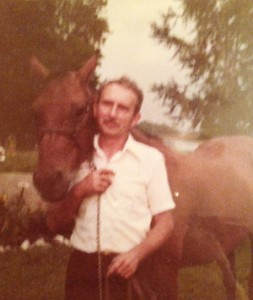 """My grandfather with one of our family's """"hay-burners."""""""