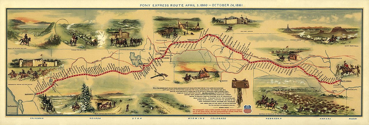 Pony Express Map William Henry Jackson - Wikimedia Commons