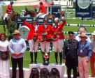 The Canadian flag waved above all three spots on the podium on April 26 after Canadians, Elizabeth Gingras, Kara Chad, and Erynn Ballard swept the $2,250,000 MXN Veracruz Grand Prix on the final day of the CSIO 4* Coapexpan in Mexico. Photo by Equine Canada