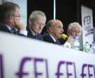 The panellists of the Jumping Session at the FEI Sports Forum 2015. Pictured from left to right are: Stephan Ellenbruch, FEI Jumping Committee member; John Roche, FEI Director Jumping; John Madden, FEI Jumping Committee chair; and Richard Nicoll, FEI Sports Forum Moderator. Photo FEI/Germain Arias-Schreiber