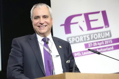 Ingmar De Vos, FEI President, closed the FEI Sports Forum 2015 today at the IMD in Lausanne (SUI) thanking all participants, including the International Olympic Committee, National Federations, FEI stakeholders, Organisers and athletes, and the FEI Technical Committees for all their work in preparing the proposals that were heard over the two-day session. (FEI/Germain Arias-Schreiber)