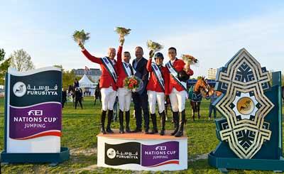The winning Belgian team at the Furusiyya FEI Nations Cup™ Jumping 2015 Europe Division 2 leg at Odense, Denmark today: (L to R) Jeromy Guery, Wilm Vermeir, Chef d'Equipe Maurice van Roosbroeck, Catherine von Roosbroeck and Gilles Dunon. Photo by FEI/Annette Boe Østergaard