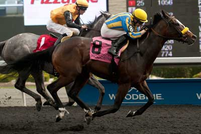 Jockey David Moran guides I'm a Kittyhawk to victory in the $125,400 Ballade Stakes, at Woodbine. Photo by Michael Burns Photography