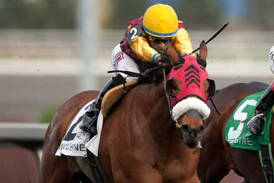 Alan Garcia guides London Tower to victory in the $150,000 Fury Stakes at Woodbine. Photo by Michael Burns Photography