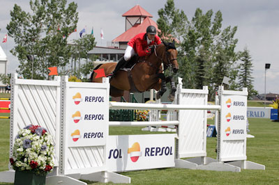 Francois Mathy and Polinska des Isles won the $85,000 Repsol Cup at the Spruce Meadows Continental. Photo by Spruce Meadows Media Services