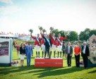 At the prize-giving for today's Furusiyya FEI Nations Cup™ Jumping 2015 Europe Division 1 qualifier at St Gallen, Switzerland where Team Belgium were victorious: (L to R) Sabrina Zeender, FEI Secretary General; Farouk Mohamad Wazeer Ali, Saudi Arabian Chargé d'affaires to Switzerland; winning Belgian team Niels Bruynseels, Pieter Devos, Dirk Demeersmann (Chef d'Equipe), Greogry Wathelet, Jos Verlooy; Markus Straub, Präsident des Kantonsrates des Kantons St. Gallen; Nayla Stössel, President of Organising Committee CSIO St. Gallen and Urs Schiendorfer, Event Director CSIO St. Gallen. Photo by FEI/Katja Stuppia