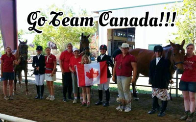 Team Canada at the Rancho Murieta CPEDI 3* (L to R: Teressa Allwood (Athlete Support) with Rufus and Tristiana Allwood (Athlete), Chef d'Equipe Elizabeth Quigg, Tammy Van Samang (Horse Owner), Vi McKenzie (Athlete Support), Kaelyn Van Samang, Lexington Star Bright, Jennifer McKenzie (Athlete), Monique Fraser (Personal Coach), Sarah Cummings (Athlete), West Bay and Jo Cummings (Athlete Support). Photo by Monique Fraser